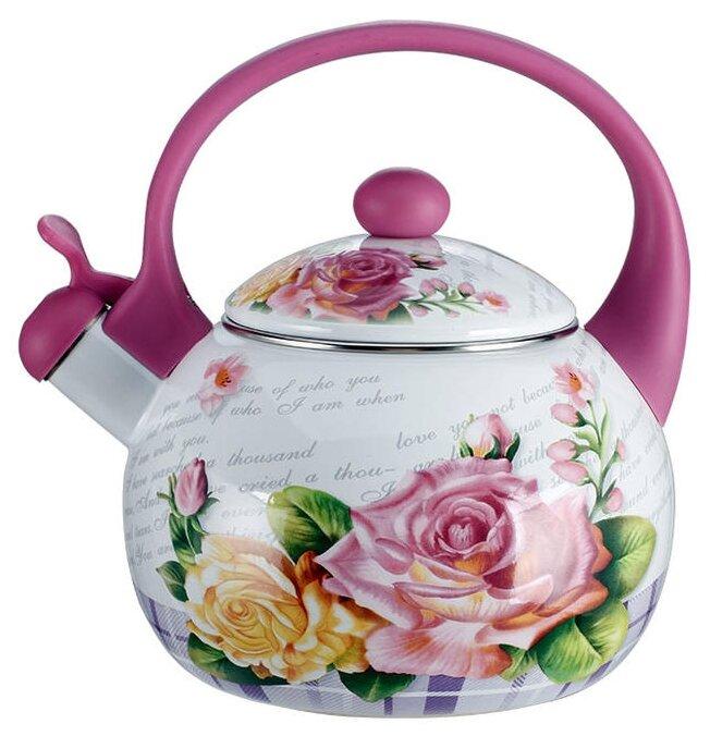 Metalloni Чайник со свистком Чайная роза 2.5 л розовый