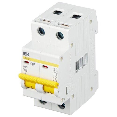 Автоматический выключатель IEK ВА 47-29 2P (C) 4,5kA 63 А выключатель автоматический однополюсный 6а c 4 5ka ва 47 63 ekf proxima