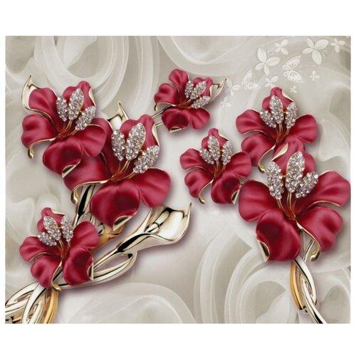 цена на Фотообои флизелиновые Design Studio 3D Драгоценные лилии 3х2.5м бордовый/бежевый
