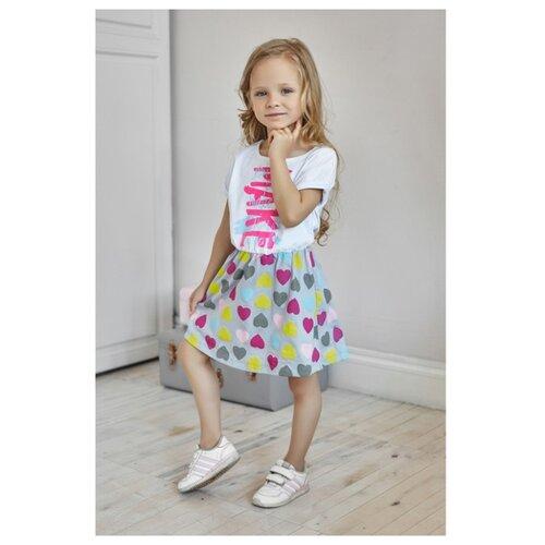 Платье Kaftan размер 98-104, белый/разноцветный