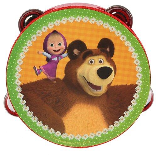 Купить Играем вместе бубен Маша и Медведь HLJ180108-6 красный/зеленый/оранжевый, Детские музыкальные инструменты