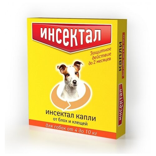 Инсектал капли от блох и клещей инсектоакарицидные для собак и щенков от 4 до 10 кг