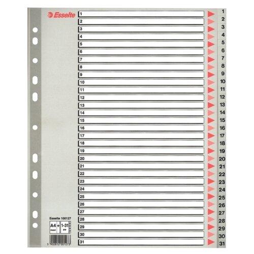 Esselte Разделитель пластиковый А4, 1-31 серый