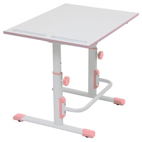 Купить Стол Polini Simple М1 75x55 см белый/розовый, Парты и столы