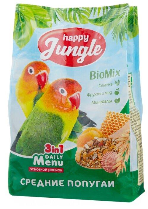 Корм HAPPY JUNGLE Корм для средних попугаев, 500 г