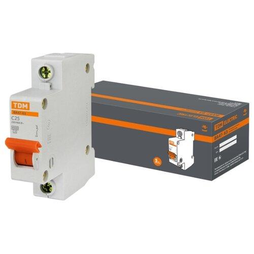 Автоматический выключатель TDM ЕLECTRIC ВА 47-63 1Р (C) 4,5kA 25 А выключатель автоматический однополюсный 6а c 4 5ka ва 47 63 ekf proxima