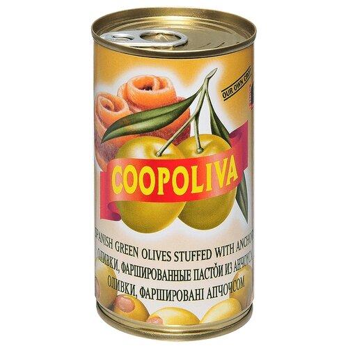 Coopoliva Оливки с анчоусом в рассоле, жестяная банка 350 г acorsa оливки фаршированные анчоусом жестяная банка 350 г