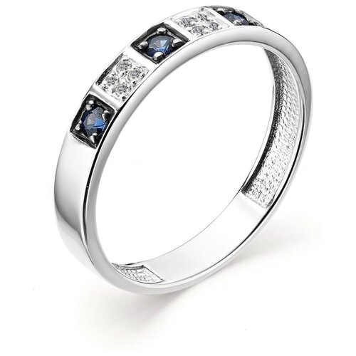 АЛЬКОР Кольцо с сапфирами и бриллиантами из белого золота 12842-202, размер 18