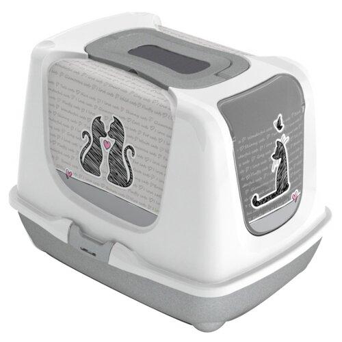 Туалет-домик для кошек Moderna Trendy Cat Cats In Love 50х37.5х39.5 см бело-серый
