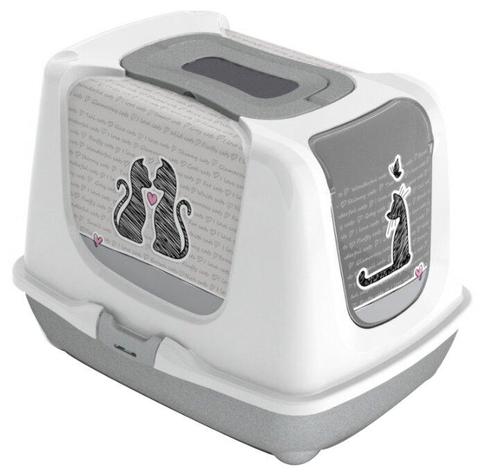 Био-туалет для кошек Moderna с совком, цвет: серый, 50x39x37h см