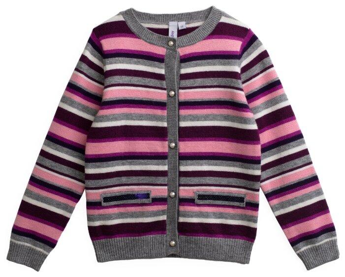 Кардиган playToday размер 116, серый/розовый/белый