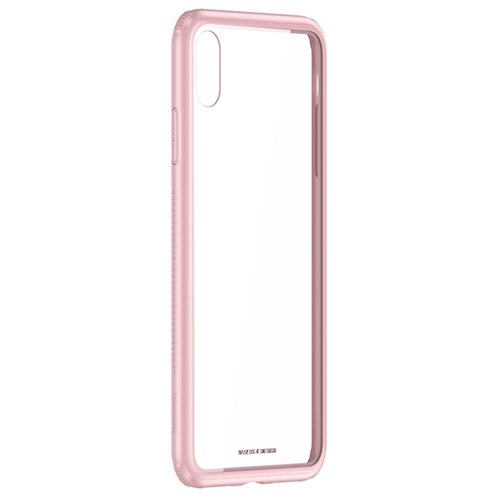 Чехол-накладка Baseus See-through glass protective case для Apple iPhone Xr pink white see through gold silk cotton crop top