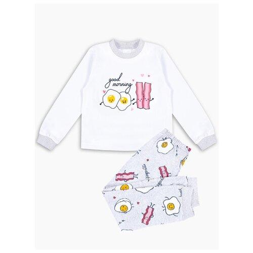 Купить Пижама Веселый Малыш размер 122, белый/серый, Домашняя одежда