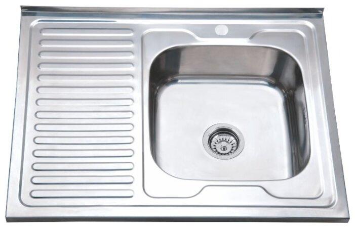 Накладная кухонная мойка Ростовская Мануфактура Сантехники MD6-8060R 80х60см нержавеющая сталь