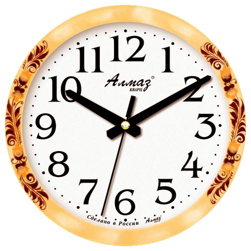 Часы настенные кварцевые Алмаз E25 бежевый/белый часы настенные кварцевые алмаз p04 p10 бежевый белый