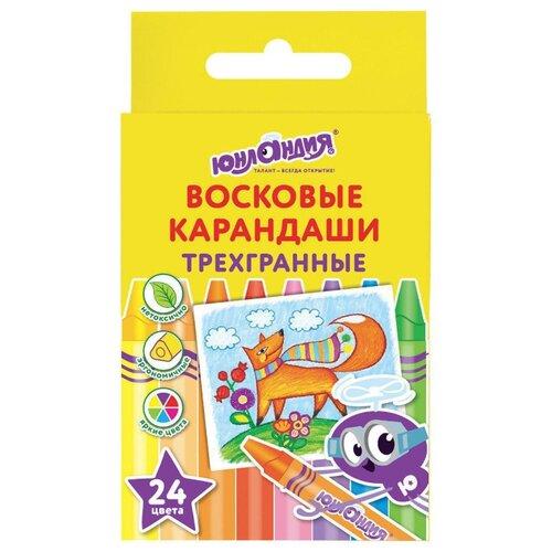 Купить Юнландия Восковые карандаши Юнландик и мудрый лис 24 цвета (227291), Пастель и мелки