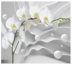 Фотообои флизелиновые Design Studio 3D Белая орхидея на объемном фоне 3х2.7м