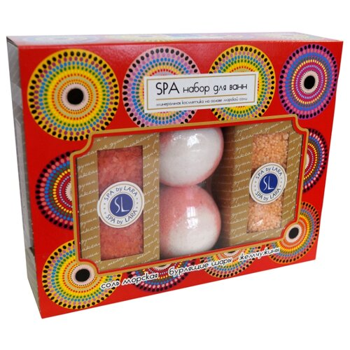 SPA by LARA Набор Соль для ванн + Жемчужины для ванн + 2 Бурлящих шара, РозаПена, соль, масло<br>
