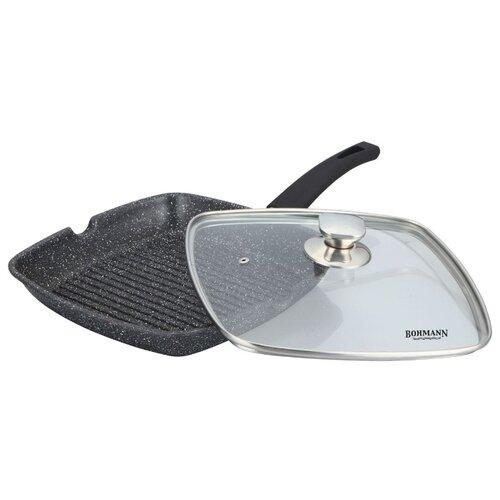 Сковорода-гриль Bohmann BH-1002-28MRB 28х28 см с крышкой, черный сковорода bohmann 372124вн серый диаметр 24 см