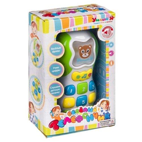 Интерактивная развивающая игрушка Умный Я Веселый телефончик ZYE-E0069, белый/зеленый