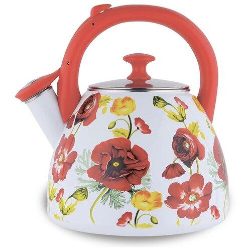 Фото - Metalloni Чайник со свистком Маки 3 л белый/красный endever чайник aquarelle 301 302 303 3 л красный