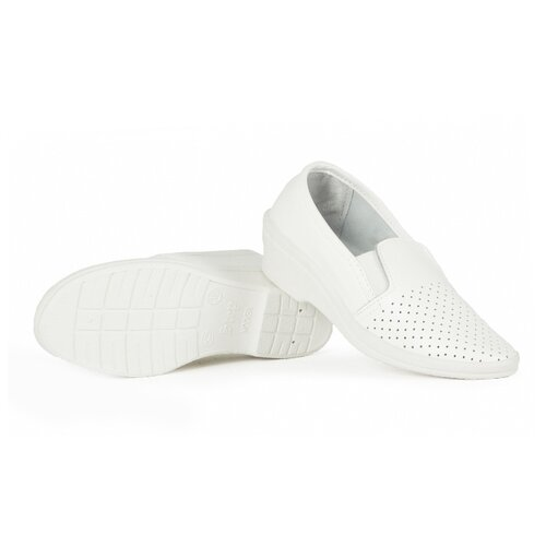 Туфли с перфорацией женские нат.кожа Аня ПВХ, белый (размер 36)