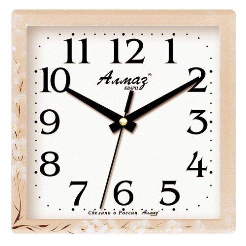 Часы настенные кварцевые Алмаз M56 бежевый/белый часы настенные кварцевые алмаз m52 бежевый белый