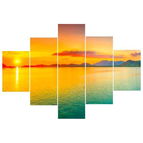 Модульная картина Ekoramka Закат на море 100х70 смКартины, постеры, гобелены, панно<br>