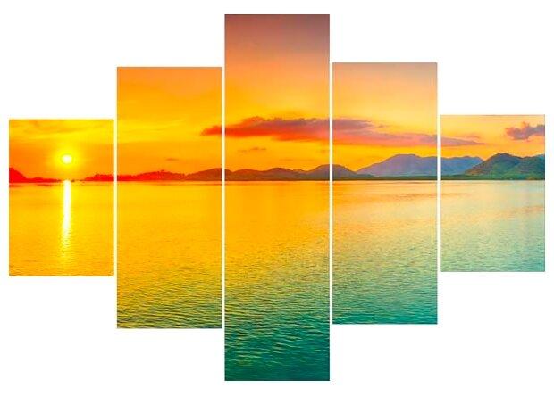 Модульная картина Ekoramka Закат на море 100х70 см