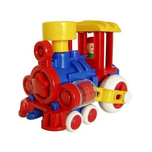 Купить Каталка-игрушка Форма Паровозик Ромашка С-117-Ф красный/синий/желтый, Каталки и качалки