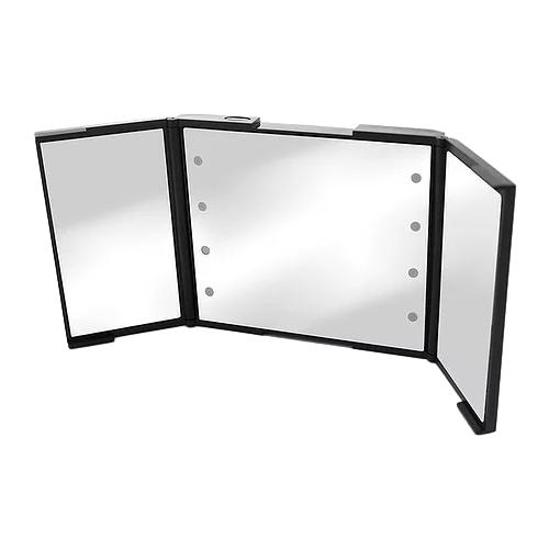 Зеркало косметическое настольное BESPECIAL трехстворчатое (малое) с подсветкой черный