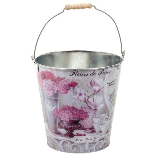Ведро GiftnHome Парижские Цветы (ZВ- Fleurs) 8 л. серый/розовыйВедра и тазы<br>