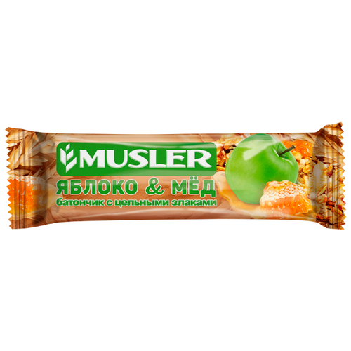 Злаковый батончик Musler Яблоко и мед, 6 шт батончик злаковый fortuche яблоко с корицей 30 шт по 25 г