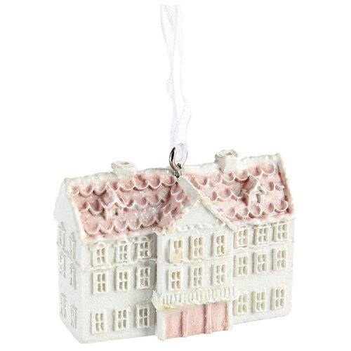 Елочная игрушка Magic Time Домик с розовой крышей (78147) белый/розовый
