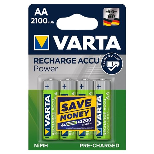 Фото - Аккумулятор Ni-Mh 2100 мА·ч VARTA Recharge Accu Power 2100 AA 4 шт блистер аккумулятор ni mh 2600 ма·ч varta recharge accu power 2600 aa 4 шт блистер