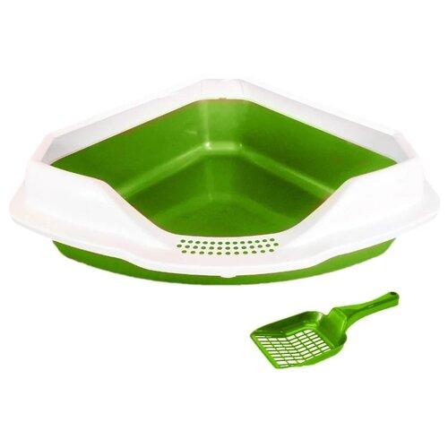 Туалет-лоток для кошек Homecat 65115/65116/65117/3156319/3516333/3516326/3516302 56х42х18 см зеленый перламутр