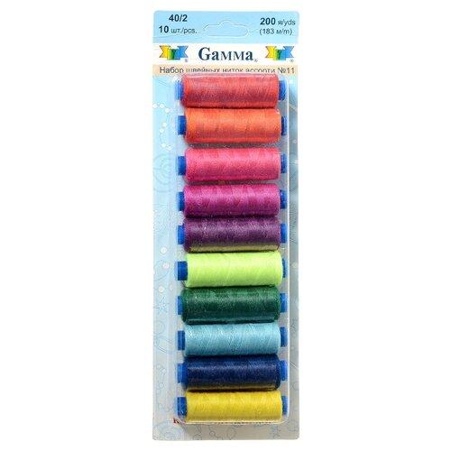 Gamma Набор швейных нитей №11 40/2 200 ярдов 183 м х 10 шт.
