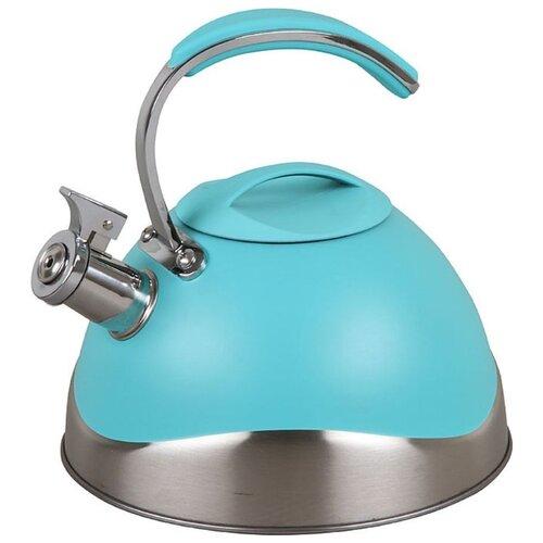 Pomi d'Oro Чайник со свистком PSS-6500/19/20/21 3 л, серебристый/голубой кастрюля pomi d oro facilita pss 595252 2 5 л стальной