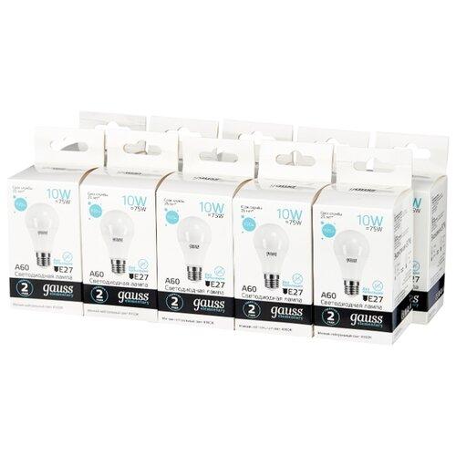 Упаковка светодиодных ламп 10 шт gauss 23220, E27, A60, 10Вт упаковка светодиодных ламп 10 шт gauss 53110 e14 10вт