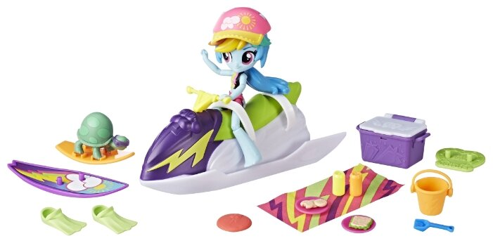 Набор с мини-куклой My Little Pony Equestria Girls Пляжный спорт Рэйнбоу Дэш, 12 см, E1085/B8824