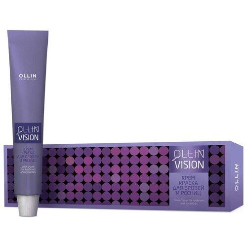 OLLIN Professional Крем-краска для бровей и ресниц + салфетки под ресницы Vision графит недорого