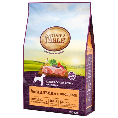 Корм для собак Natures Table (0.8 кг) Для взрослых собак всех пород индейка с овощами сухойКорма для собак<br>