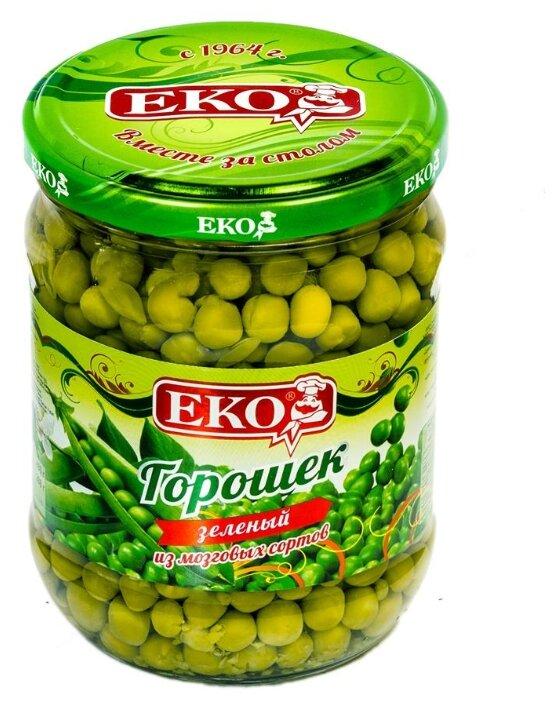 Зеленый горошек Eko, стеклянная банка 480 г