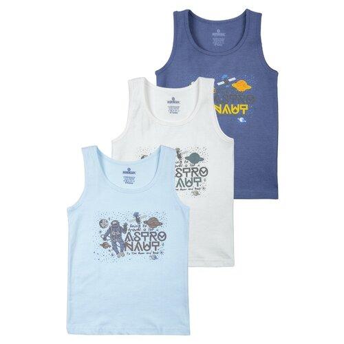 Купить Майка BAYKAR 3 шт., размер 98/104, белый/голубой/синий, Белье и пляжная мода