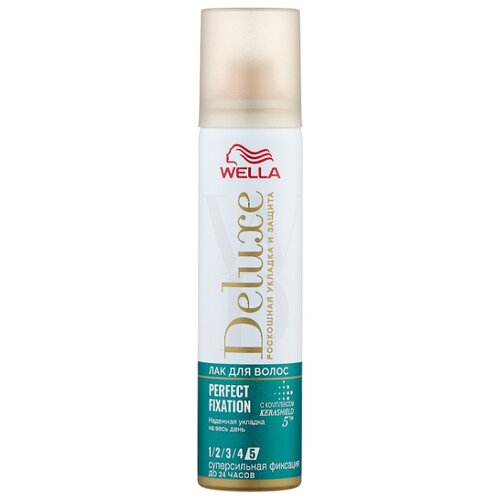 Wella Лак для волос Deluxe Perfect fixation, экстрасильная фиксация, 75 мл wella deluxe мусс для волос 24 wonder volume 75 мл