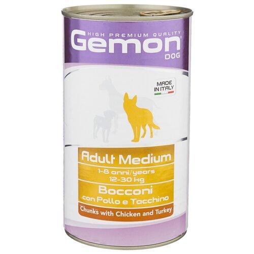 Корм для собак Gemon Кусочки с курицей и индейкой. Консервы для собак средних пород (1.25 кг) 1 шт.