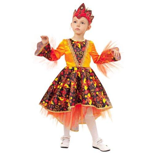 Купить Костюм пуговка Жар-птица (1016 к-18), оранжевый/красный/черный, размер 116, Карнавальные костюмы