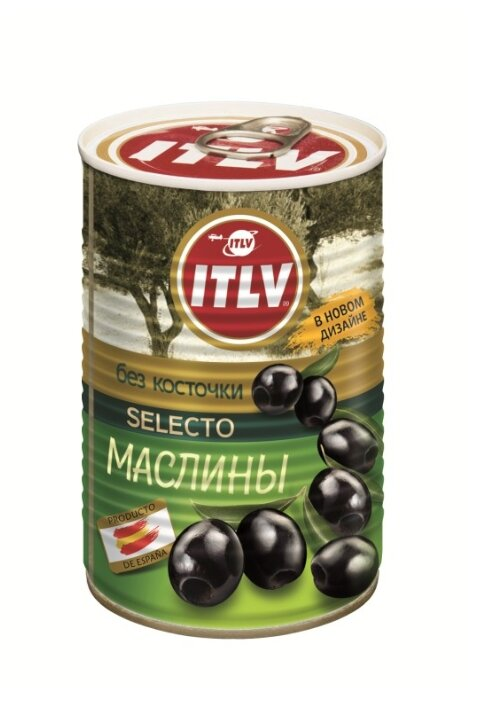 ITLV Маслины черные Selecto без косточки, 425 мл