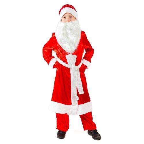 Купить Костюм Бока Дед Мороз атлас, красный, размер 122-134, Карнавальные костюмы