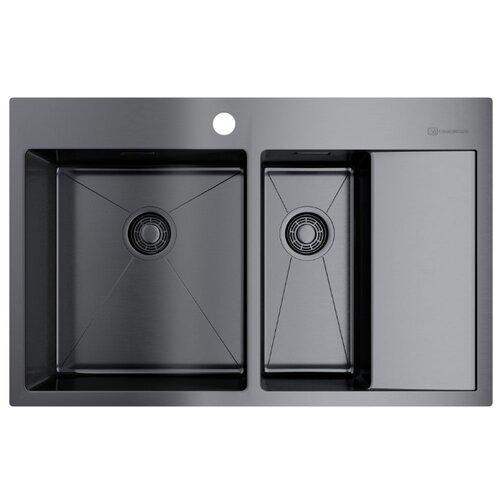 цена на Интегрированная кухонная мойка 78 см OMOIKIRI Akisame 78-2-GM-L 4973101 вороненая сталь